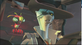 Captain Slag and Rusty Pete in Ratchet & Clank Future