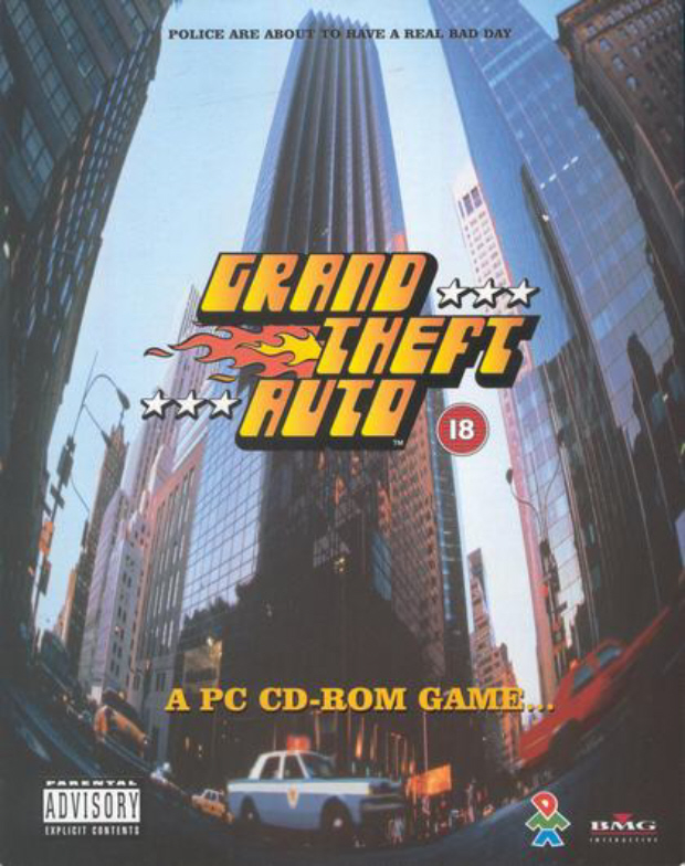 GTA 1 PC box artwork for the original first Grand Theft Auto game