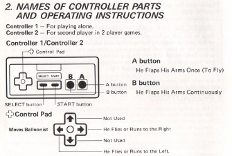 Balloon Fight NES Instruction Manuel Controls