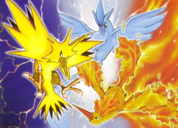 Zapdos Articuno Moltres Legendary bird Pokemon Artwork thanks to Pokemon Paradijs