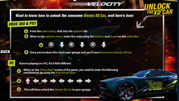 Split Second cheat codes screenshot for unlockable Disney car