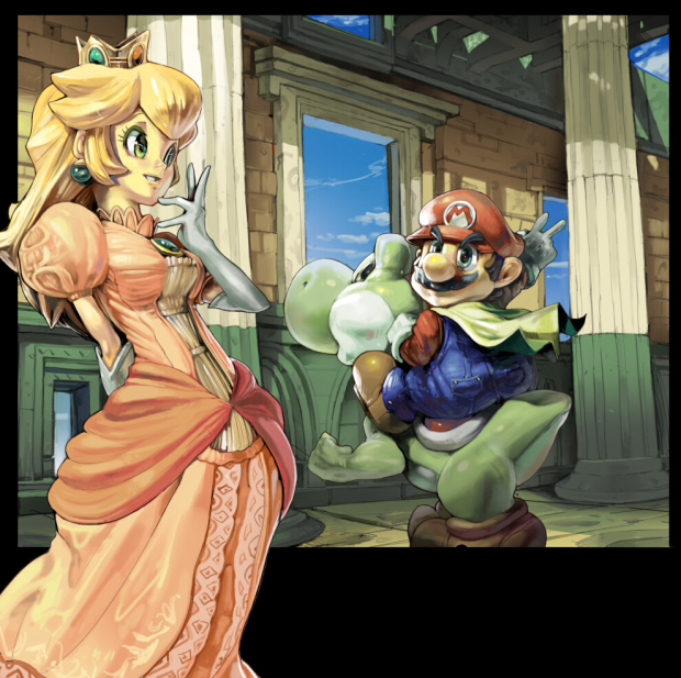 Mario Galaxy 3 or Mario Kart 3D to be next Mario title? Mario and Peach artwork by Koki