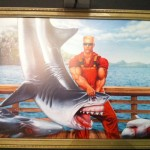 DNF artwork. Duke the Fisherman catches shark