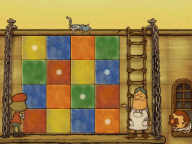 Professor Layton and the Unwound Future puzzle 73 Tricky Tilework solution screenshot