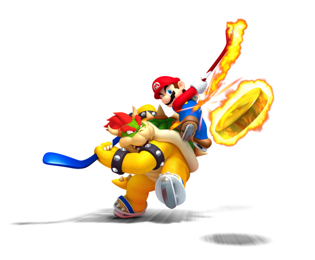 Mario Sports Mix hockey fire artwork (Bowser vs Mario)