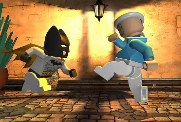 Lego Batman about to kick a fool in the face!