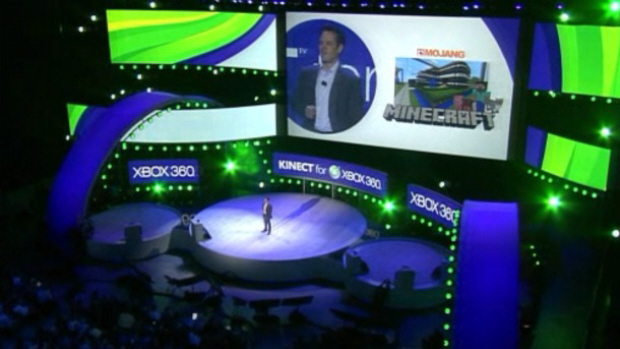 MineCraft for Xbox 360 announcement screenshot from E3 2011 at the Microsoft Pre-E3 Press Conference
