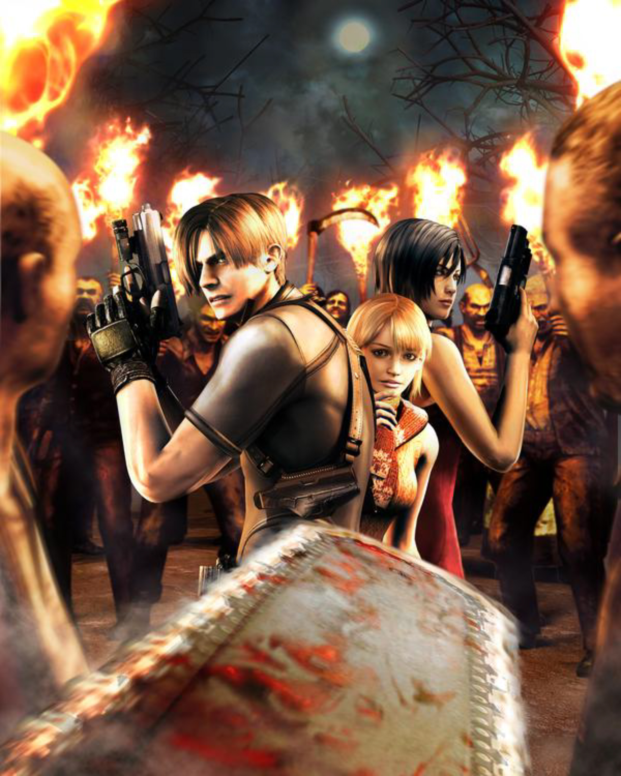 Resident Evil Hd Wallpaper: Zombies Surround Us Resident Evil 4 Artwork