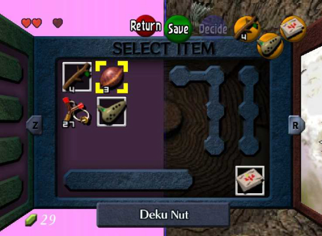 Item Subscreen Menu in N64 Zelda: Ocarina of Time (Screenshot)