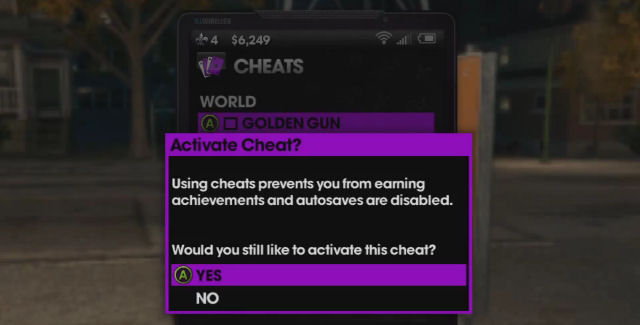 Saints Row: The Third cheat codes menu screenshot