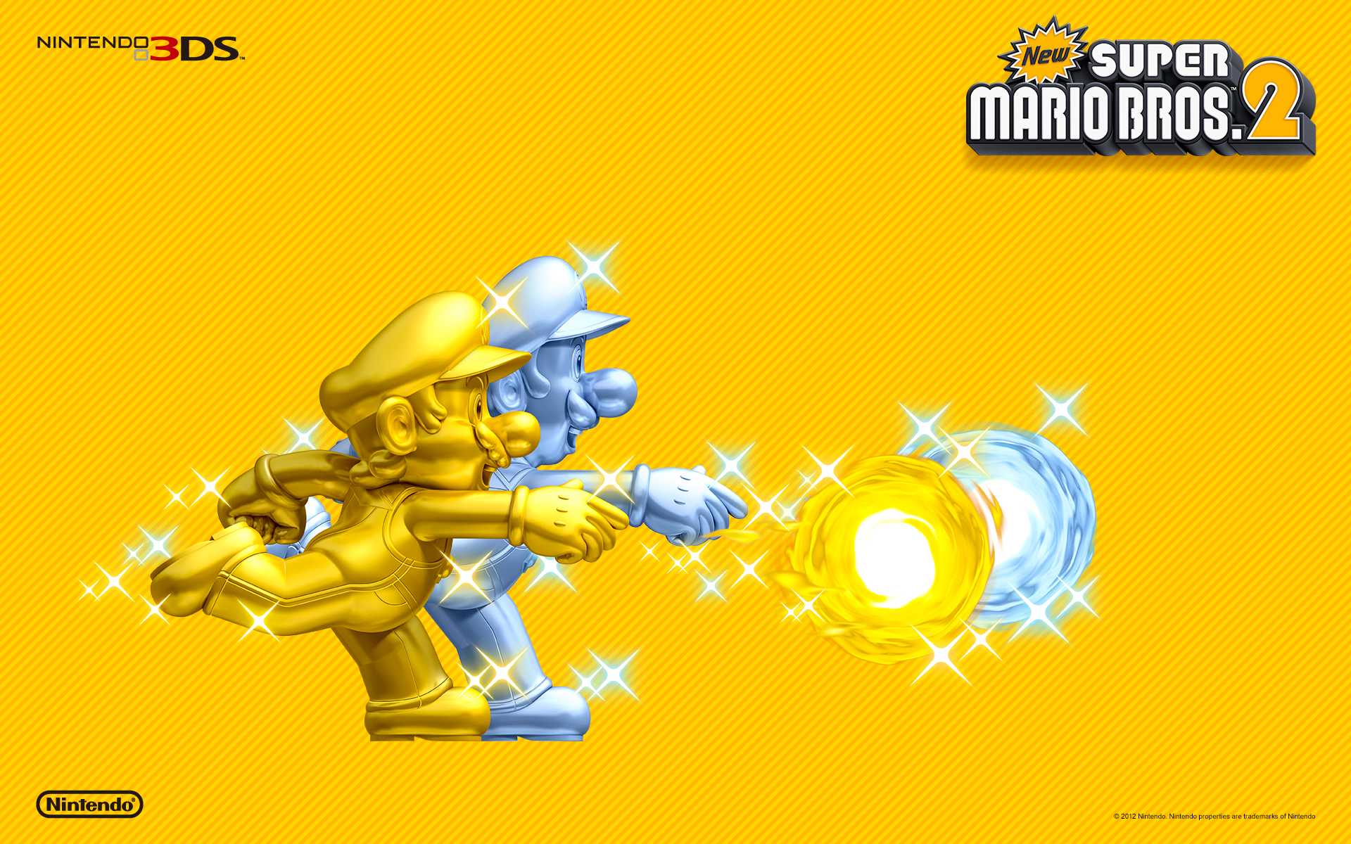 New Super Mario Bros 2 Gold Mario & Silver Luigi Wallpaper
