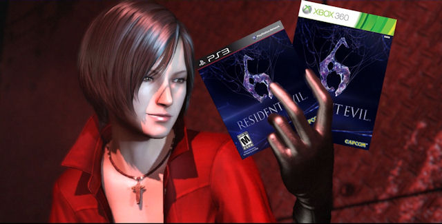 Resident Evil 6 game boxes held by Ada Wong