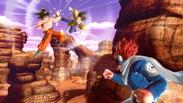 Goku VS Vegeta and a red-haired mystery character