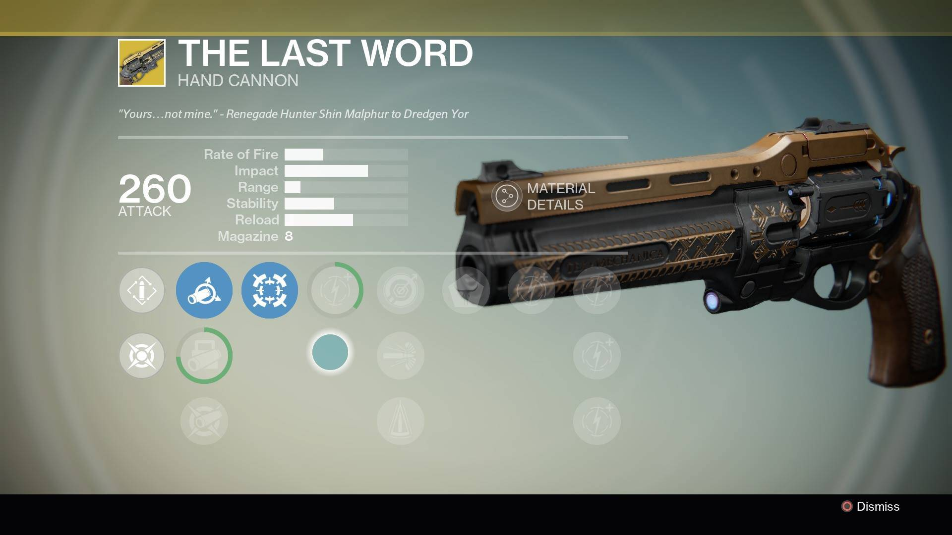 Destiny The Last Word Exotic hand cannon