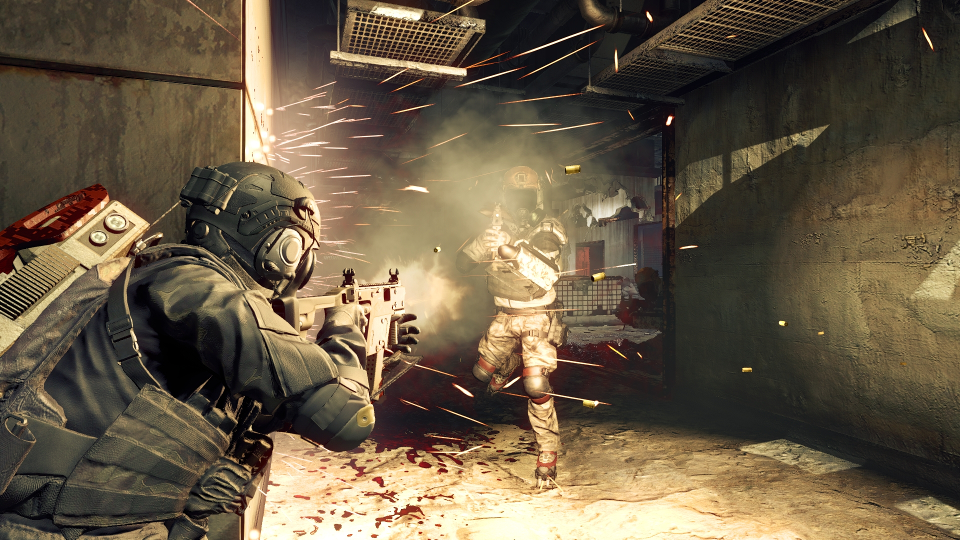 Evil Umbrella Corps Gameplay Screenshot Sparks and Blood PS4 PC